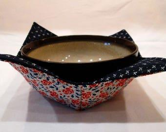 Microwave Bowl Cozy, Microwave Bowl Potholder, Reversible Bowl Holder, Hot or Cold Bowl Holder