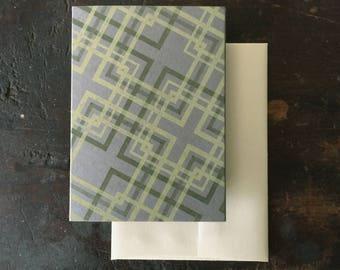 Lovers' Knot Letterpress Notecard - Lemon and Olive on Gray