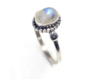 Rainbow moon 92.5 sterling silver ring size 8 us