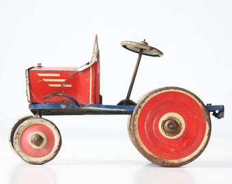 Vintage Marx Toy Tractor, Red, White and Blue