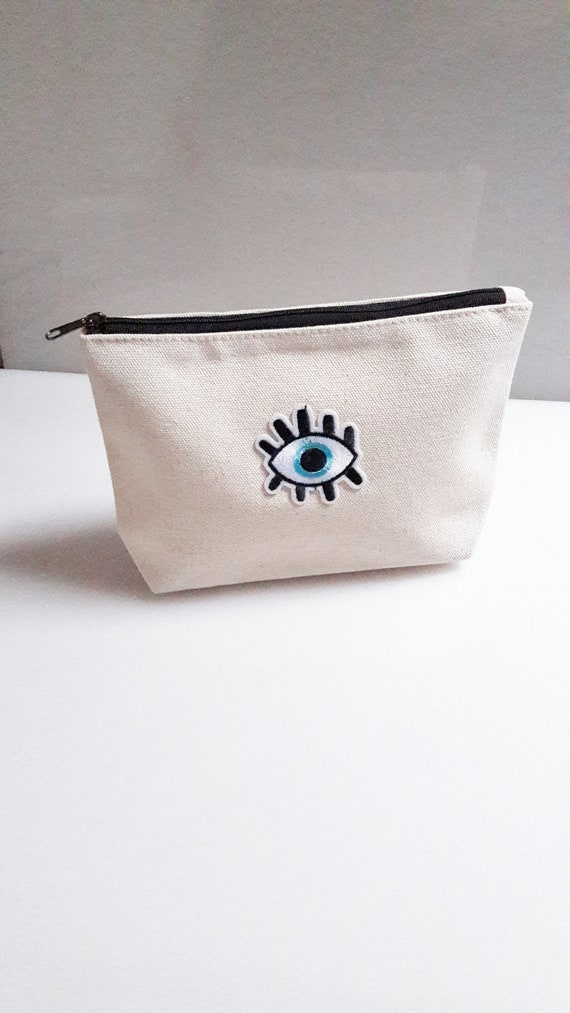 Evil Eye cotton canvas zip pouch//Embroidery patch travel bag//Cosmetic Jewelry Makeup Storage Travel Accessory Organizer Pouch