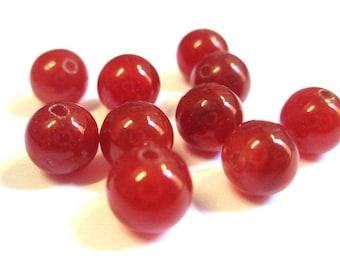 10 pearls 8 mm natural jade (E-24)