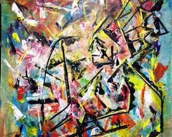 Original Large painting Abstract - Native - sale New Contemporary Colorful palatte knife modern art