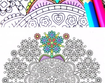 Mandala Coloring Page - Floret Forest - coloring page to print and color for mindfulness coloring, art therapy and fun!