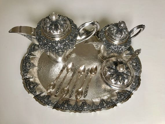 1940 Indonesian Jogja 800 Silver Coffee Milk and Sugar Set with Spoons