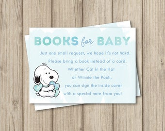 Snoopy baby shower etsy snoopy baby shower bring a book insert card books for baby card book request filmwisefo Choice Image