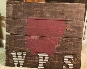 WPS Arkansas State outline pallet wood sign-woo pig sooie-Arkansas Razorbacks-wood sign-rustic-distressed-rustic decor