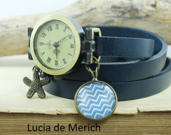 Leather watch, three laps wrist watch, Nautical-Chevron watch,nautical watch, girls watch, woman watch, antique map watch