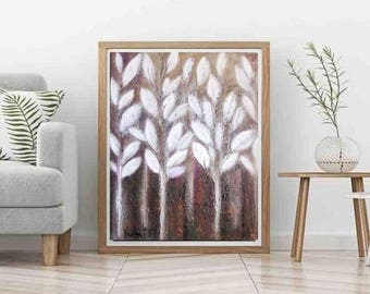 "Minimalist Botanical abstract White and Brown rustic oil canvas painting winter is coming theme of winter-white home-decor  wall art 22""x28"""