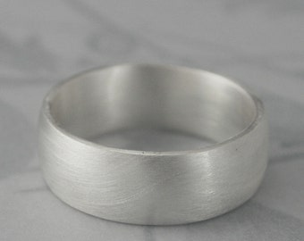 Wide Plain Silver Band--Plain Jane 8mm Super Wide Solid Sterling Silver Wedding Band--Low Dome Rounded Traditional Ring