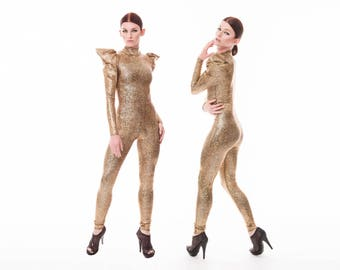 Signature Dance Catsuit Gold, Aerial Silks, Cirque Costume, Gold Jumpsuit, Futuristic Clothing, Stage Wear, Dancewear, by LENA QUIST