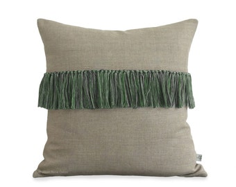 Kelly Green Tassel Pillow Cover in Natural Linen (Hand-Knotted Fringe) Decorative Pillow by JillianReneDecor - Boho Chic Summer Decor
