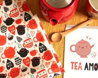 Cute and funny Linen Tea Towel - Tea Amo Pun Print - Printed and Handmade in Melbourne - Illustrated Kitchen Towel