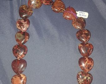 Jasper heart stones on string