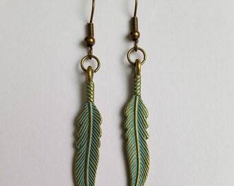 Delicate patina brass leaf earrings.