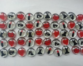 Hand painted glass gems party favors girly mix red and black hearts lips  black dress