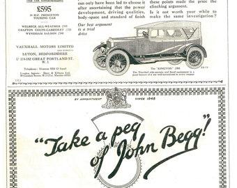 Vauxhall 1920s Motors Advert, Vauxhall Cars Advert, 1920s Advert, 1920s Motoring, Classic Cars, John Begg Whisky, Scotch Advert, Art Deco