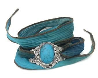 Silk Ribbon Wrap Bracelet Turquoise | Silver Turquoise Bracelet | Gemstone Bracelet Turquoise Jewelry | Bohemian Bracelet | Boho Jewelry