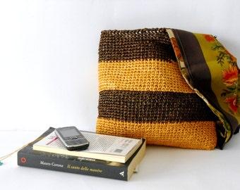Summer crochet bag, Crochet handbag, vegan vintage style crochet purse in raffia, block colors brown yellow beach bag, gift for her, for mom