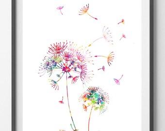 Dandelions Watercolor Print, Wall Art, wall decor, Wedding Gift, Giclee Print, Dandelion art love dandelions Illustration [NO27]