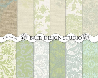 SHABBY CHIC Digital PAPER:Burlap and Lace Digital Paper, Blue and Green Damask Digital Paper, Blue Lace Digital Paper, #16187