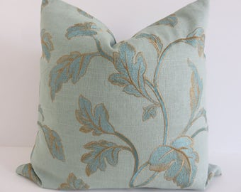 LiNen Embroidered Pillow Covers- Aqua Embroidered Pillow- Aqua Pillow Covers- Leaf Aqua Pillows