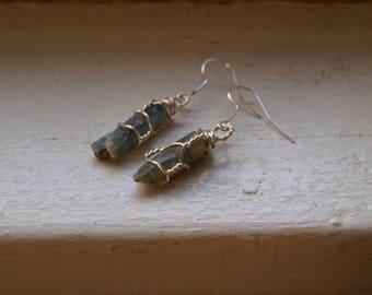 Raw Blue Kyanite Earrings Silver - Gemmy Kyanite - Icicle Earrings - Blue Winter Earrings - Blue Holiday Earrings, Icicle Earrings Christmas