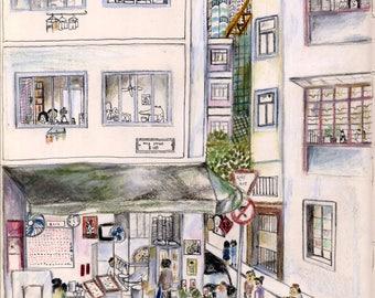 Illustrated postcards - Tai Hang
