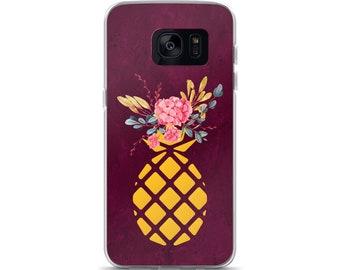 Samsung Phone Case Floral Pineapple, Samsung Galaxy Phone Case, Samsung Cell Phone Case, Phone Case Pineapple, Samsung Galaxy S7 Edge S8 S8+
