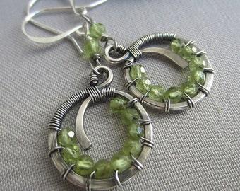 Peridot Earrings/ Silver Wire Earrings w. Peridot/ Silver Hoops/ Artisan Earrings/ Wire wrapped Earrings/ Hoop Earrings