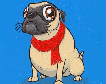 Pug with a Scarf  print
