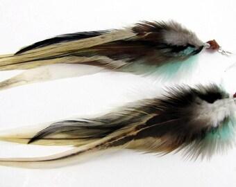 Feather Earrings - Long Feather Earrings, Beaded Tribal Earrings - Cleopatra