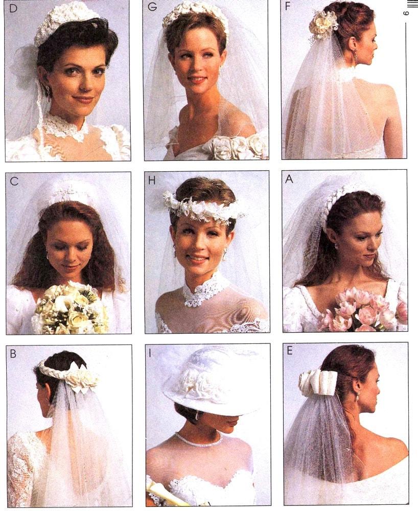 90er Jahre Headpieces Braut Schleier und Hut Vintage Sewing