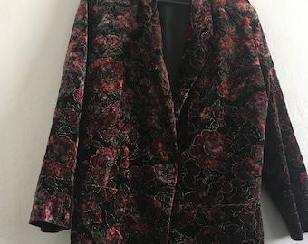 Vintage Brittany Nicole Velvet Jacket Blazer Floral Print Large