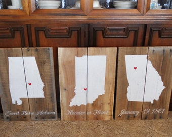 Reclaimed States Wood Sign • Custom Home State Sign • State Pride • Rustic state sign • Alabama Indiana Georgia Sign • Sweet Home Alabama