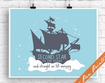 Second star to the right and straight on till morning (B) - Peter Pan Inspired Art Print (Unframed) (River Rock on Glacier) Peter Pan Prints