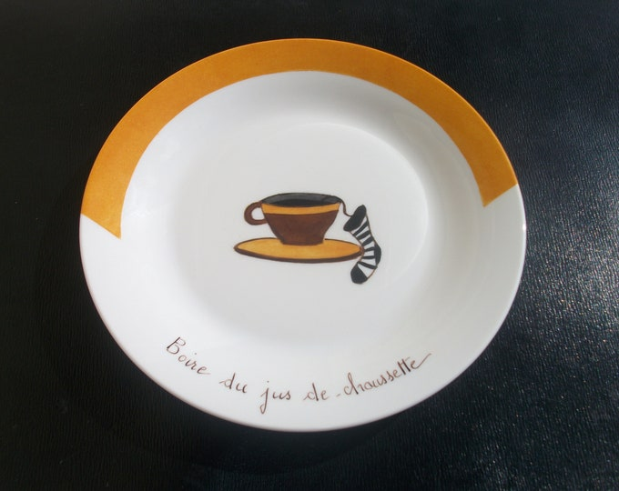 plate / cheese / funny / handpainted on porcelain
