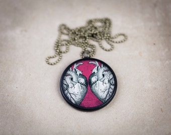 Two Hearts Anatomy Necklace - Vintage Human Anatomy Illustration Pendant