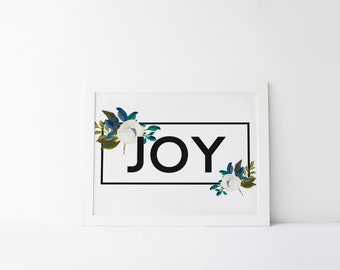 """PRINTABLE Art """"Joy"""" Typography Art Print Fruits of the spirit Floral Quote Bible Verse Inspirational Poster Motivational Poster"""