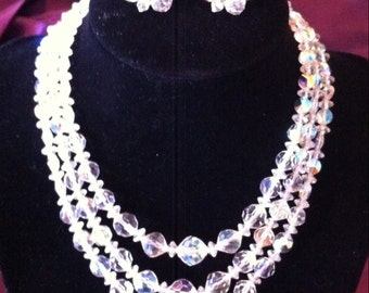 Vintage crystal necklace and earring set. 3 strand necklace