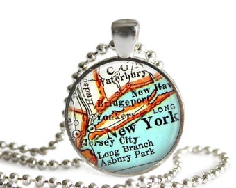New York Travel Resin Pendants, New York City map necklace pendant charms: New York jewelry charm, map jewelry by LocationInspirations,