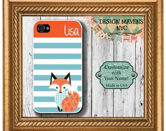 Preppy Fox Stripe Monogram iPhone Case, Personalized iPhone Case, iPhone 4, 4s, iPhone 5, 5s, 5c, iPhone 6, 6s, 6 Plus, Phone Case