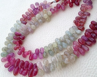 Full 8 Inch Strand,Brand New, Amazing Item Natural MULTI SAPPHIRE Smooth Drops Shape Briolettes,8-10mm,Superb Item