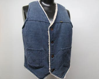 Maverick Blue Corduroy Vest, size large vest, vintage corduroy vest