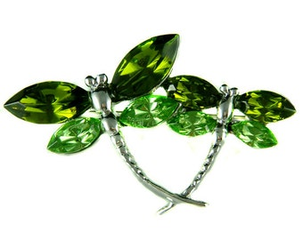Swarovski Crystal 2 Green DRAGONFLY Mother Baby Pin Brooch Jewelry Jewellery Mother's Day Christmas Best Friend BFF Mom Birthday Gift New