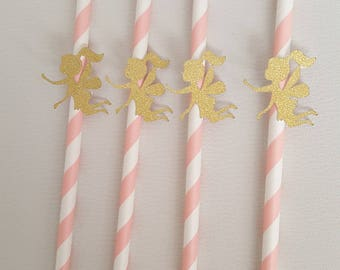 Fairies drinking paper straws, in gold glitter, pink straws. Fairies party, fairy baby shower, fairy birthday party.