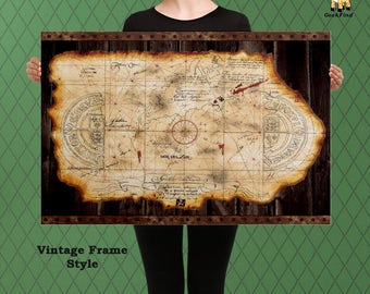 The Goonies Inspired Map, One Eyed Willy, Goonies, Custom Raised Canvas Art Piece