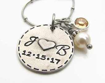 Personalized Couples Initial Necklace, Personalized Brides Necklace, Hand Stamped Jewelry, Persoanlized Heart Necklace, Anniversary Necklace