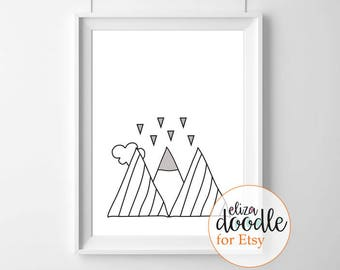 Mountains instant download print / monochrome digital download / wild print / posters for boys girls / instant download / black and white