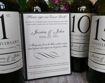 Guest Book Anniversary Wine Labels 4+ labels, 1 instructional sign..choose your colors and numbers.... Traditional